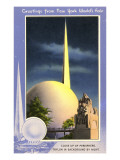 Greetings from New York World's Fair, Trylon and Perisphere Print
