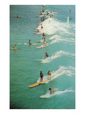 Surfing with Longboards Poster
