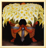 El Vendedor de Alcatraces Framed Canvas Print by Diego Rivera