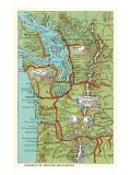 Karte vom Westen Washingtons Kunstdrucke
