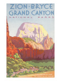 Poster, Zion, Bryce, Grand Canyon, National Parks Giclée-Premiumdruck