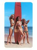 Trois surfeuses sur la plage, rétro Affiches
