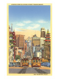 California Street, Drahtseil-Straßenbahn, San Francisco, Kalifornien Poster