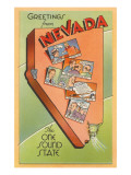Greetings from Nevada, Map Prints