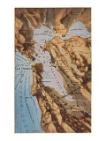 Relief Map of Bay Area, San Francisco, California Poster