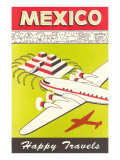 Mexico, Plane over Pyramid, Happy Travels Prints