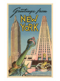 Greetings From New York with Statue of Liberty Posters