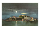Moon over Alcatraz, San Francisco, California Prints