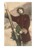 Mujer con esquís Pósters