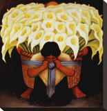 El Vendedor de Alcatraces Stretched Canvas Print by Diego Rivera
