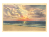 Sunrise over Ocean, Long Beach Island, New Jersey Prints