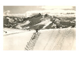 Skier Doing Herring-Bone Uphill Prints