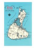 Landkarte von Block Island, Rhode Island Kunstdrucke