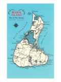 Map of Block Island, Rhode Island Prints