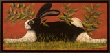 Red Folk Bunny Framed Canvas Print by Lisa Hilliker