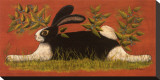 Red Folk Bunny Stretched Canvas Print by Lisa Hilliker
