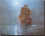 Crescent Moon Stretched Canvas Print by Montague Dawson