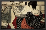 The Lovers Framed Canvas Print by Utamaro Kitagawa