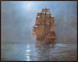 Crescent Moon Framed Canvas Print by Montague Dawson