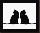 Two Black Cats Stretched Canvas Print