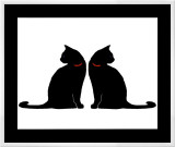 Two Black Cats Framed Canvas Print