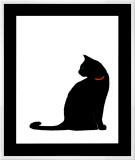 Single Black Cat Framed Canvas Print