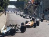 1968 Monaco Grand Prix, Jochen Rindt in Brabham leads Bruce McLaren in McLaren-Ford Fotografisk tryk