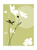 Black and White Flowers on Olive Background Posters