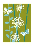 Green and Blue Color Print with Flowers and Butterfly Posters