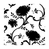 Black and White Floral Print with Three Blossoms Posters