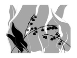 Greyscale Print of Flower Blossom and Leaves Posters