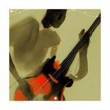 Playing Red and Black Bass Guitar Premium Giclee Print