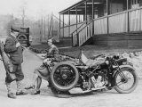 Golfers with 1939 AJS Motorcycle and Sidecar Photographic Print