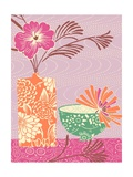 Floral Vase and Bowl Arrangement in Patterns, No.1 Posters