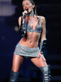 Pop Singer Kylie Minogue Performing Wearing a Silver Mini Skirt at the SECC in Glasgow, May 2002 Photographic Print