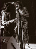 Steve Tyler Lead Singer of the Band Aerosmith in Concert at Pontiac Stadium, Detroit, USA, May 1976 Papier Photo