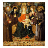 Madonna and Child with Saints Giclée-tryk af Benozzo Gozzoli