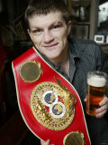 World Champion Boxer Ricky Hatton, Battered but Victorious After Combining Two Belts. November 2005 Photographic Print