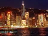 The Buildings are Lit up for the Handover Celebrations, Hong Kong 26, June 1997 Photographic Print