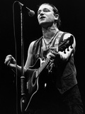 U2 Irish Pop Singer Bono Playing Guitar and Singing at Wembley Arena in 1987 Photographic Print