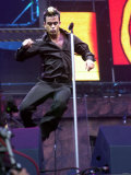 Robbie Williams Stadium Tour in Ireland, July 2001 Jumping on Stage Photographic Print