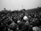 Brian Clough Ashbourne Race 1975 Talking to Crowd Ball under Arm. February 1975 Photographic Print