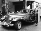 Oliver Reed with His Panther de Ville Car in 1979 Photographic Print