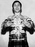 Boxing: Ken Buchanan Holding Up the World Lightweight Championship Belt Photographic Print
