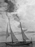 Sir Francis Chichester on Board His Yacht Gypsy Moth Iv 1966 Proir to His Solo Round the World Trip Photographic Print