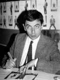Rowan Atkinson Sign Copies of a Mr Bean Video at Hmv Music Store in Oxford Street, London Photographic Print