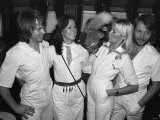 Pop Group Abba on Banks of the River Thames to Promote New Album Arrival Fotografiskt tryck