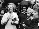 Margaret Thatcher Visiting Rington's Tea Factory in Byker, Newcastle, Chatting to Workers Photographic Print