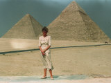 Princess of Wales, Princess Diana Visits Tour of Egypt 1992 Diana Standing in Front of Pyramids Photographic Print