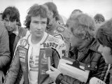 Disappointed Barry Sheen After the 500CC British Grand Prix Motorcycle Race at Silverstone, 1978 Photographic Print